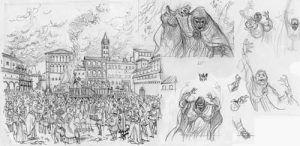 El papa terrible cómic bocetos